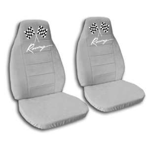 silver racing car seat covers for a 2009 Chevrolet Camaro. Automotive