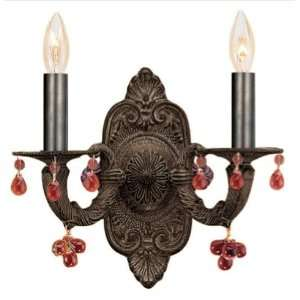 Crystorama Abbie Natural Wrought Iron Wall Sconce Accented