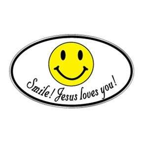 Christian bumper sticker decal Smile Jesus Loves You