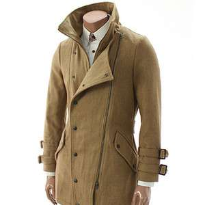 Happy lighter Mens Casual Double Zip wool Coat BEIGE (GA03)