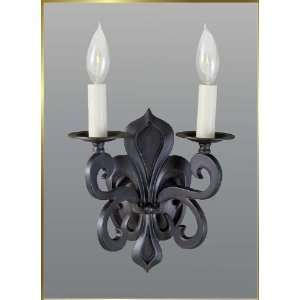 Wrought Iron Wall Sconce, JB 7322, 2 lights, Rust, 9 wide