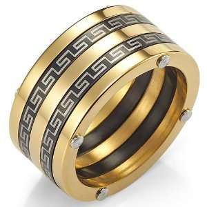 Stunning Greek Style Stainless Steel Ring Mens Band 10mm (Black Gold