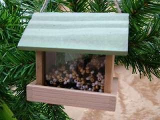 New Wood Bird Feeder Seed House Bird Watcher Ornament