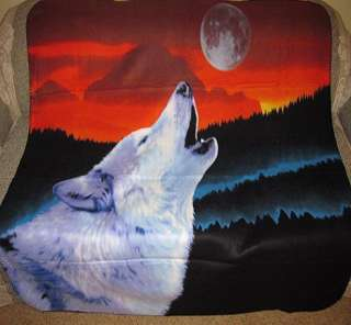 New Howling Wolf Red Sky Fleece Throw Blanket Moon SOFT