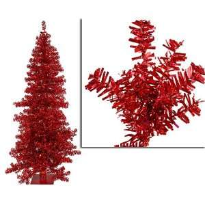 9 Red Wide Cut Laser Tinsel Artificial Christmas Tree