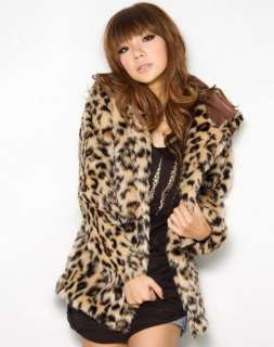 Women Hooded Vintage Wild Leopard Faux Fur Winter Coat Jacket XS S