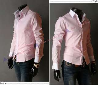 NEW Mens Casual Simple and Stylish Slim fit Dress Long sleeved Shirt 4
