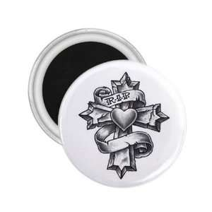 Tattoo Cross Stone Art Fridge Souvenir Magnet 2.25