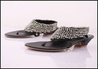 Women Beads Back Zip Flip Flop Thongs Sandals Shoes 1jx