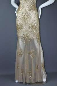 NEW AIDAN MATTOX GOLD SEQUIN BEADED MESH OVERLAY FORMAL PROM GOWN