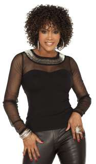 Vivica Fox Pure Stretch Cap Medium Curly Style Full Wig BOHEMIAN Color