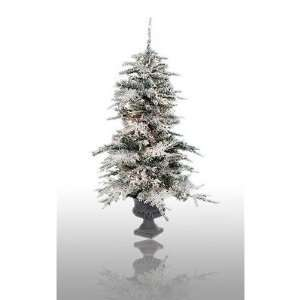Potted Prelit Flocked Vail Artificial Christmas Tree