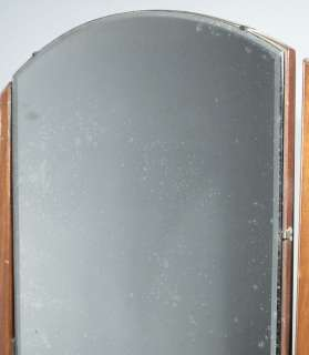 Antique Art Deco Burl Walnut Tri Fold Mirror Dresser