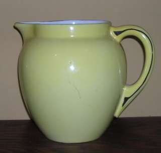 Pretty Yellow Art Deco Czech Pitcher