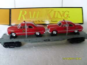 RAIL KING BY MTH O GAUGEMTH AUTO TRANSPORT FLATCAR WITH ERTL FIRE