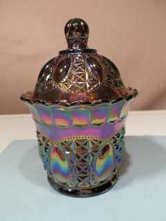 IMPERIAL BEADED JEWEL AMETHYST CARNIVAL GLASS CANDY JAR AND LID W
