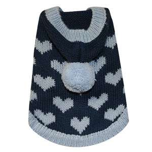 Little Barkers Loving You Hooded Dog Sweater   Blue Hearts