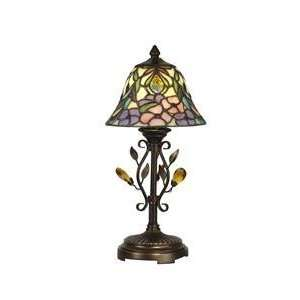 Dale Tiffany Crystal Jewel Peony Art Glass Accent Lamp