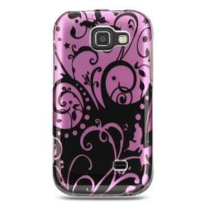BLACK PURPLE FLORAL DESIGN CASE + LCD SCREEN PROTECTOR for