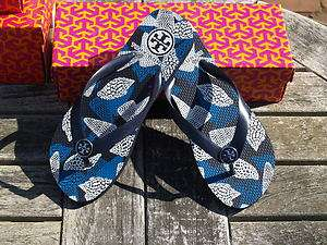 NEW Tory Burch Enamel Printed Navy Shell Flip Flop/Sandal/Flat/Shoes 6