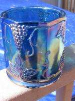 Indiana Blue Carnival Glass Harvest Grape Canister
