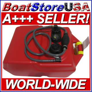 New 6 Gallon Portable Boat Fuel Tank With Fuel Hose for Mercury 3/8