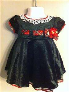 Cute Girl Bonnie Baby Christmas Holiday Infant Dress Size 6 9 Mon
