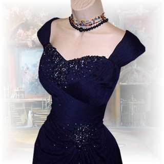 NWT ~ NAVY BLUE BEADED FORMaL EVENiNG BaLL GoWN DRESS by XSCAPE ~ 22