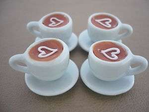 Cups of Cappuccino Heart Coffee Dollhouse Miniatures Food Supply Deco