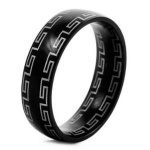 MENS Black Stainless Steel GREEK Rings Wedding Band Size 9