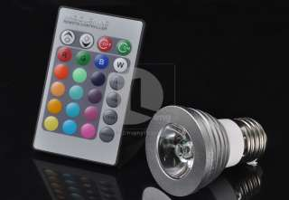 Changing E27 3W 180LM RGB LED Light Bulb Lamp + IR Remote Control EL30