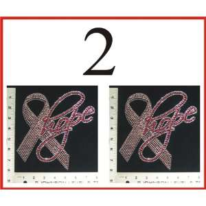 Wholesale Rhinestone Iron On 2pcs Breast Cancer Hope Ribbon
