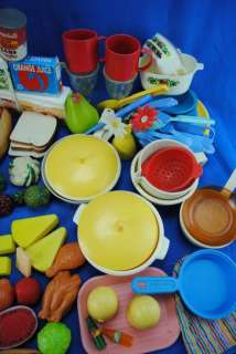 Large Mixed Lot 200 Piece Kids Fake Food Kitchen Fisher Price & Others