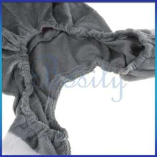Grey PLUSH PET DOG HOODIE RABBIT COAT CLOTHES APPAREL L