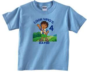 Personalized Custom Go Diego Go Birthday Light Blue or Pink T Shirt