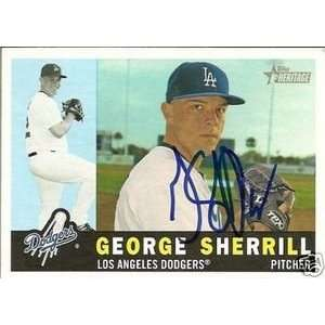 George Sherrill Signed Dodgers 2009 Topps Heritage Card