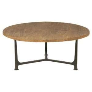 Reclaimed Elm Round Metal Cocktail Table