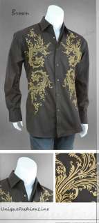 milano moda men s stylish casual dress shirt style 309
