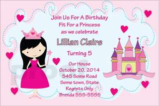 PRINCESS PARTY INVITATIONS Birthday Girl Castle Fairytale Invites
