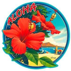 Hibiscus   Hawaiian Art Decal   Car Window Bumper Sticker Automotive