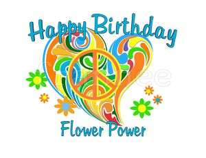 FLOWER POWER 70S PEACE SIGN EDIBLE CAKE DECORATION