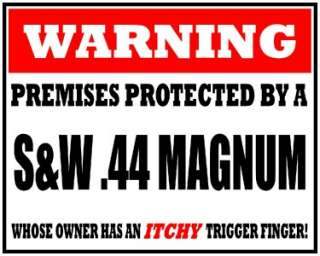 PREMISES PROTECTED BY S&W .44 MAG VINYL DECAL STICKER