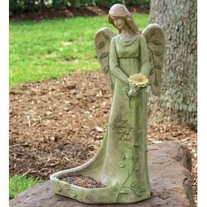 Gazing Angel Bird Feeder Statue Patio, Lawn & Garden