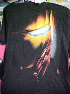 NWT MENS Marvel Iron Man FACE Black T Shirt
