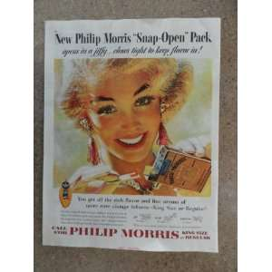 Philip Morris cigarettes, Vintage 50s full page print ad. (woman with