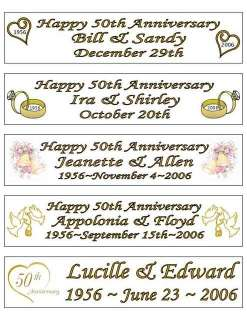 50th GOLDEN WEDDING ANNIVERSARY BANNER   PERSONALIZED