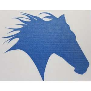 Small Blue Glitter Horse Head Silhouette Car, Truck Window