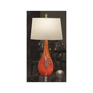 Light Red and Blue Art Glass Table Lamp With Night Light, White Shade
