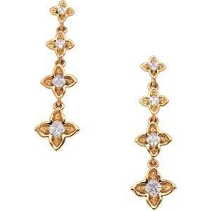 14K Yellow Gold Journey Diamond Earring