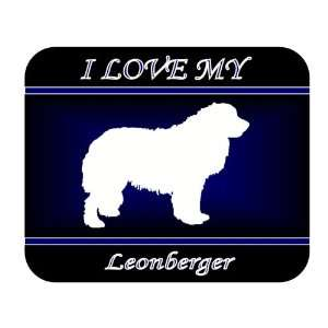 I Love My Leonberger Dog Mouse Pad   Blue Design